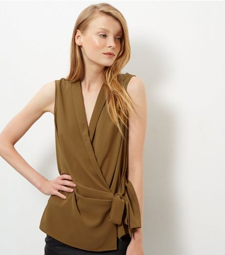 Olive Green Tie Waist Wrap Sleeveless Top | New Look