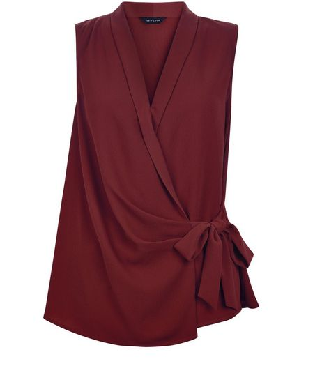Burgundy Tie Waist Wrap Sleeveless Top | New Look
