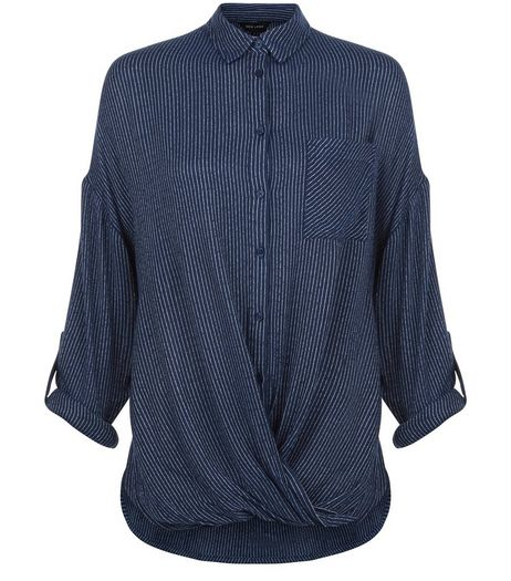 Blue Pinstripe Wrap Shirt | New Look