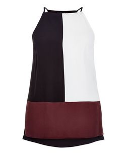 Black Colour Block High Neck Cami | New Look