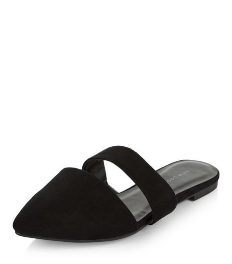 Black Cut Out Pointed Mules  | New Look