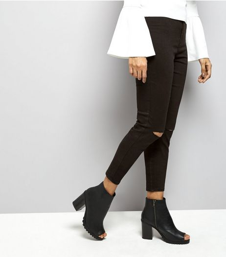 Petite Black High Waisted Ripped Knee Skinny Jeans | New Look