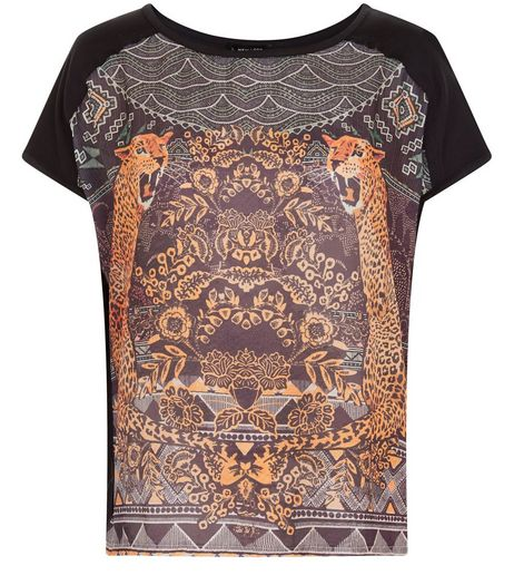 Black Woven Abstract Print T-Shirt  | New Look