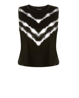 Black Chevron Tie Dye Crop Top  | New Look