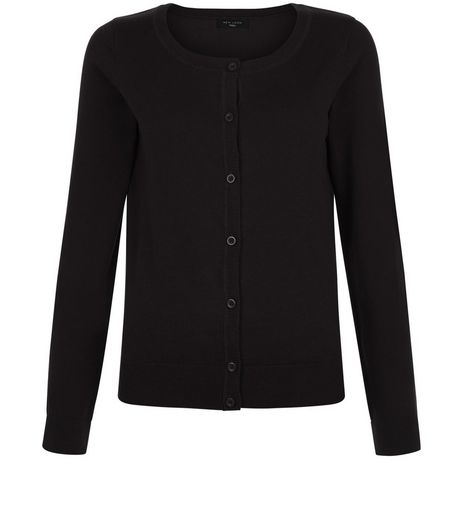 Tall Black Button Front Cardigan  | New Look