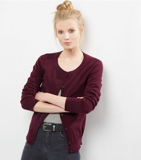 Tall Burgundy Crew Neck Cardigan | New Look