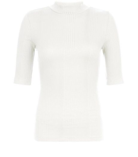 Cream Ribbed Funnel Neck 1/2 Sleeve Top | New Look