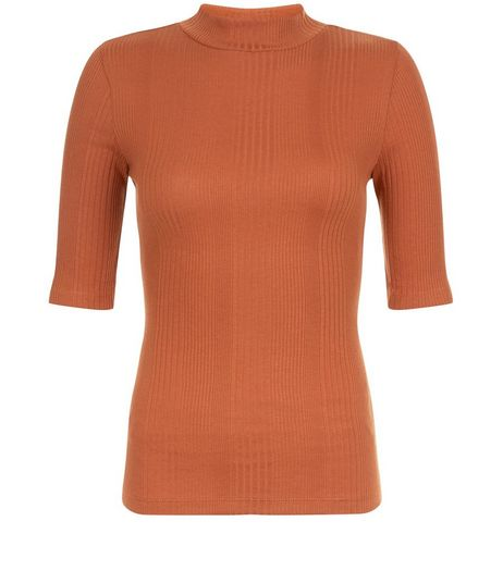 Rust Ribbed Funnel Neck 1/2 Sleeve Top  | New Look