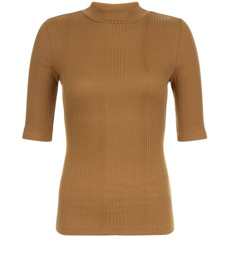 Olive Green Ribbed Funnel Neck 1/2 Sleeve Top | New Look