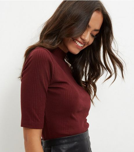 Burgundy Ribbed Turtle Neck Jumper | New Look