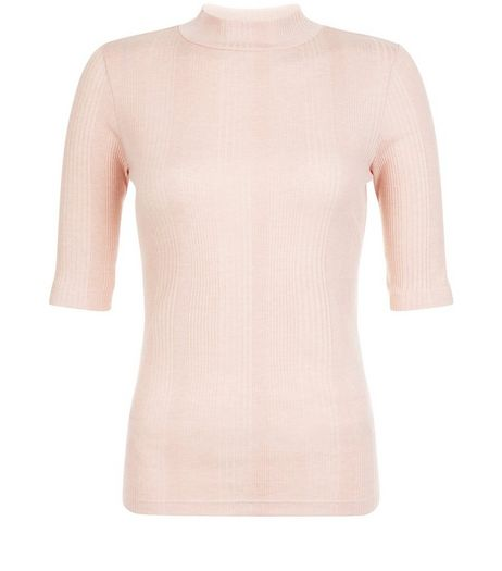 Mid Pink Ribbed Funnel Neck 1/2 Sleeve Top | New Look