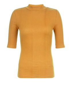 Mustard Ribbed Funnel Neck 1/2 Sleeve Top | New Look