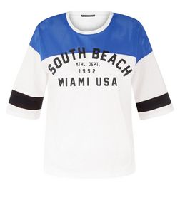 White Airtex South Beach Baseball T-Shirt  | New Look
