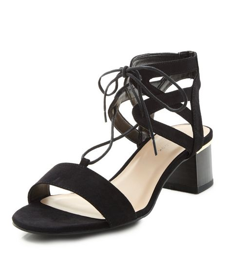 Black Block Heel Ghillie Sandals  | New Look