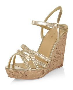 Gold Textured Cross Strap Wedge Sandals  | New Look