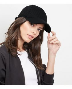 Black Quilted Baseball Cap  | New Look