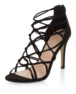 Black Suedette Knotted High Heels  | New Look