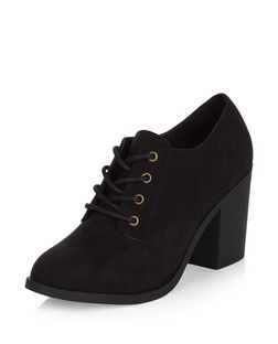 Black Suedette Lace Up Shoe Boots  | New Look