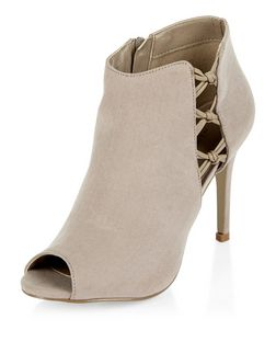 Light Brown Suedette Cut Out Knotted Trim Heeled Boots  | New Look