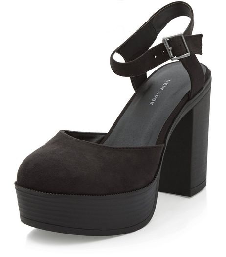Black Suedette Platform Block Heels | New Look