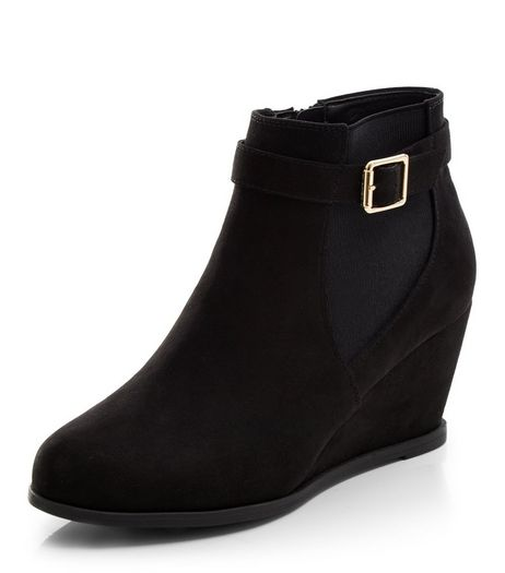 Teens Black Wedge Shoeboots | New Look