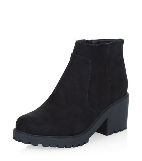 Teens Black Suedette Chunky Ankle Boots | New Look