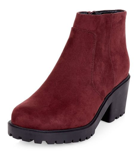 Teens Burgundy Suedette Cleated Sole Ankle Boots | New Look