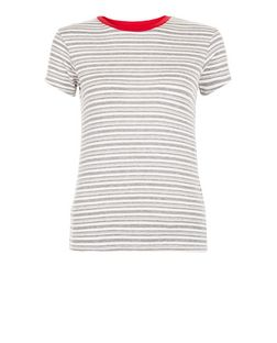 White Stripe Contrast Trim T-Shirt  | New Look