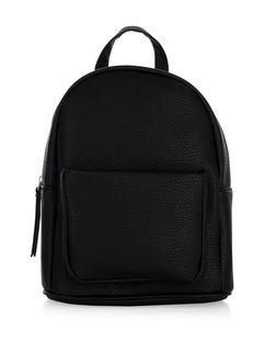 Black Pocket Front Curved Mini Backpack  | New Look