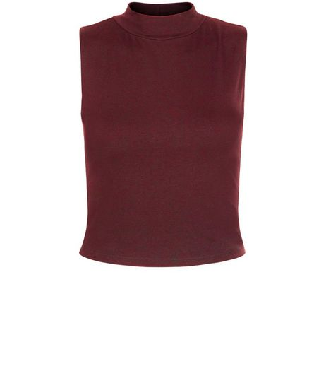 Teens Burgundy Turtle Neck Sleeveless Top  | New Look