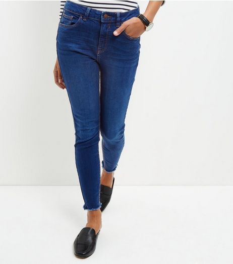 Navy Fray Hem Ankle Grazer Skinny Jeans  | New Look
