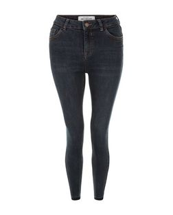 Dark Blue Drop Hem Skinny Jeans | New Look