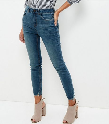 Blue Washed Ankle Grazer Fray Hem Skinny Jeans  | New Look