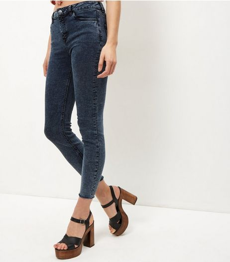 Navy Acid Wash Fray Hem Skinny Jeans  | New Look