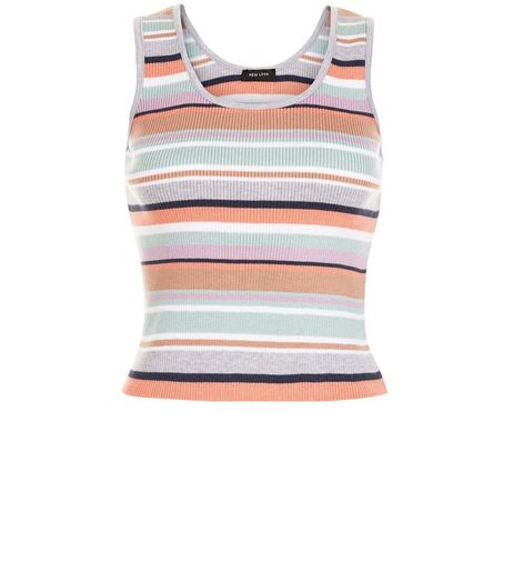 Petite Multicoloured Stripe Ribbed Vest | New Look