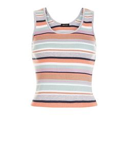Petite Pink Stripe Ribbed Vest | New Look
