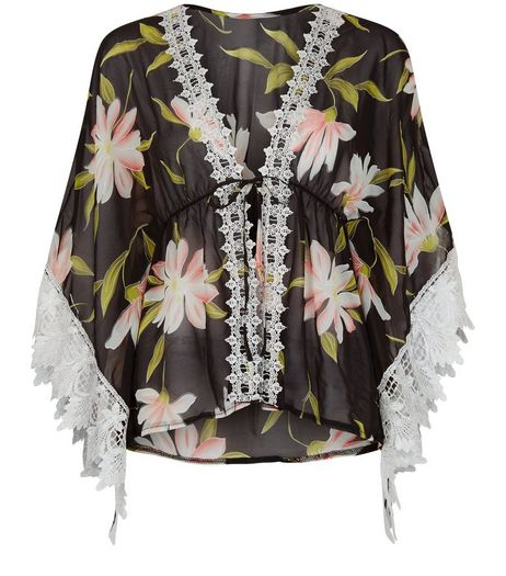 Mela Black Floral Print Lace Trim Kimono | New Look