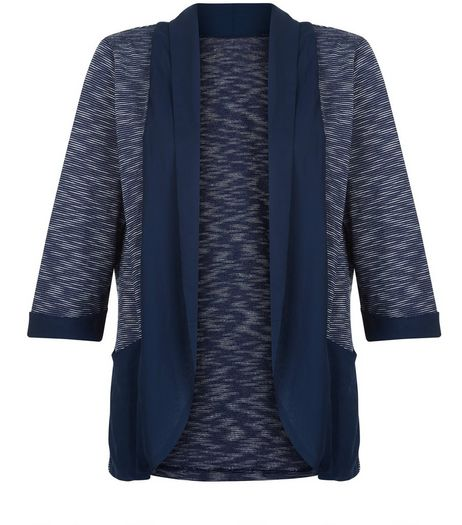 Mela Navy Space Dye Contrast Trim Jacket | New Look