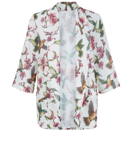 Mela White Floral Bird Print Jacket | New Look