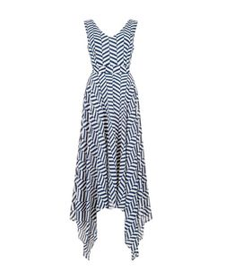 Mela Blue Stripe Hanky Hem Dress | New Look