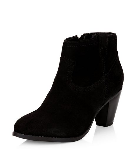 Black Leather Western Block Heel Ankle Boots  | New Look