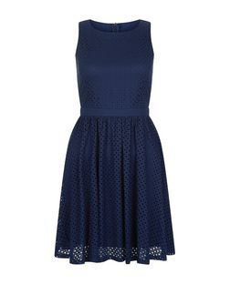 Mela Navy Lace Sleeveless Skater Dress | New Look