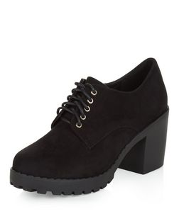 Teens Black Lace Up Block Heel Shoe Boots | New Look