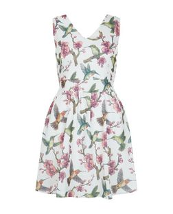 Mela White Floral Bird Print V Neck Dress | New Look