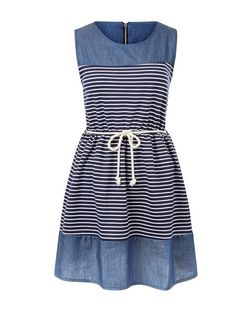 Mela Navy Stripe Skater Dress | New Look