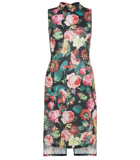 Mela Black Floral Print Split Back Tunic | New Look