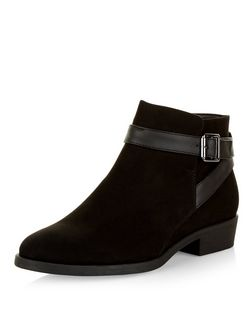 Black Suedette Buckle Ankle Boots | New Look