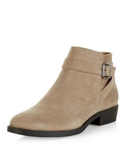 Light Brown Suedette Buckle Ankle Boots | New Look