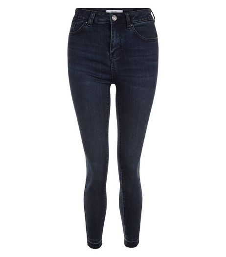 Navy Drop Hem Ankle Grazer Skinny Jeans  | New Look