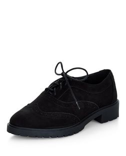 Teens Black Chunky Brogues  | New Look